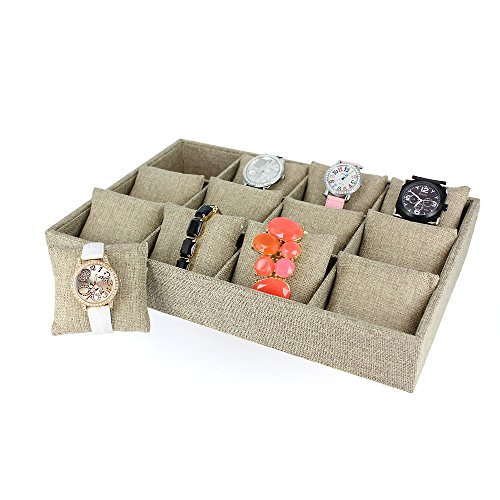 Caddy Bay Collection Burlap Watch Jewelry Display Case Tr...