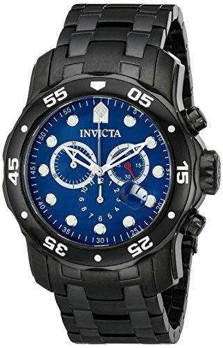 Invicta Men's 80077 Pro Diver Analog Swiss Quartz Stainless Steel Blue Dial Black (Diver Quartz Blue Dial)