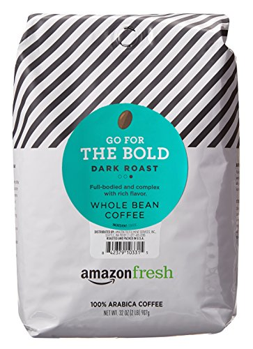 AmazonFresh Go For The Bold, 100% Arabica Coffee, Dark Roast, Whole Bean, 32 Ounce