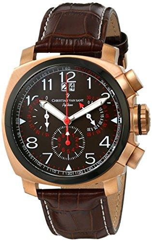Christian Van Sant Men's CV3AU4 Grand Python Analog Display Swiss Quartz Brown Watch