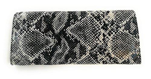 Zerimar Cartera Mujer | Piel Alta Calidad | Bolso Señora | Bolso de Mano | Bolso Grande | Bolso Pequeño | Múltiples compartimentos | Grabado Serpiente | Medidas: 33 x 15 cms Negro