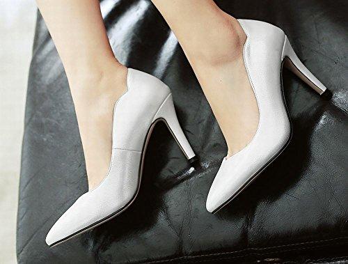 MissSaSa Damen Pointed Toe Low-cut Pumps mit Stiletto elegant und modern high-heel Spitze Kleid/Partyschuhe Weiß