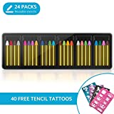 Face Paint Crayons 24 Colors, INVOKER Kids Face Body Painting Kit with 40 Tattoo Stencils, 100% Safe & Non-Toxic Face Paint Sticks for Christmas/ Makeup Cosplay/ Halloween, EN71 Certified