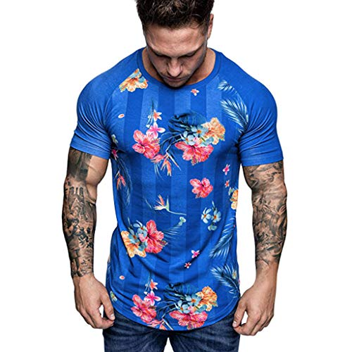 Benficial Summer Men's Casual Fashion Short Print Round Neck Fitness T-Shirt Top Blouse Blue
