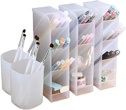 Desktop Organiser Plastic Pen Holder Stationery Office Home Container kc L6C0