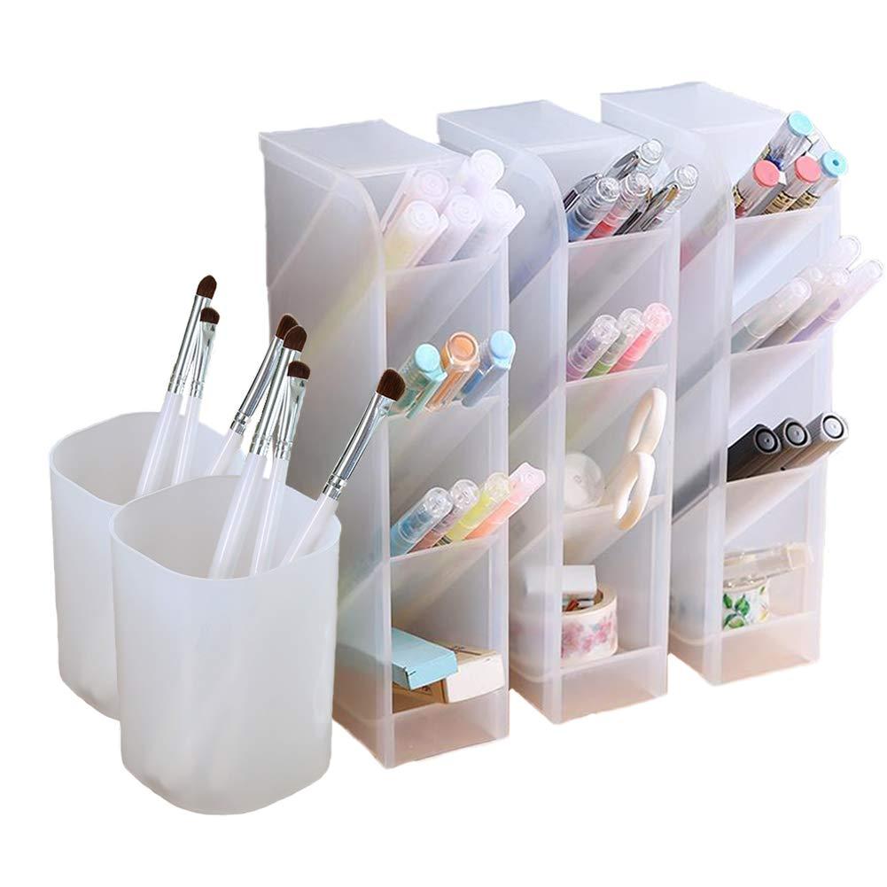 5 Pcs Desk Organizer- Pen Organizer Storage for Office, School, Home Supplies, Translucent White Pen Storage Holder, Set of 3, 2 Cups 14 Compartments (White) by Marbrasse