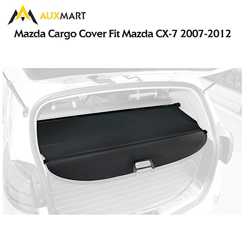 Mazda Cx 7 (AUXMART Cargo Cover Fits for 2007-2012 Mazda CX-7 Anti-Theft Trunk Cover Retractable Security Shielding Shade Black)