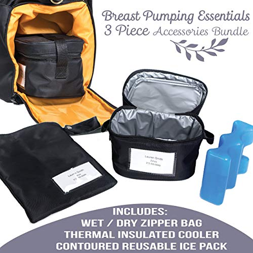 Zohzo Breastmilk Cooler Bag with Ice Pack - Insulated Breast Milk Cooler with Accompanying Wet/Dry Bag (Black) (Baby Cooler)