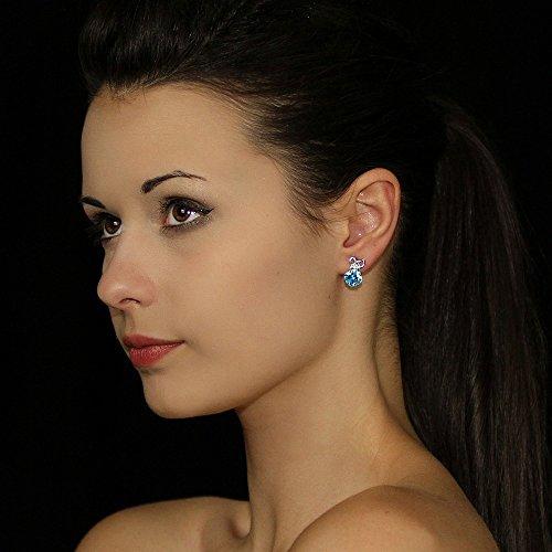 Boucles d'oreilles AMBROISE en argent avec véritable topaze bleue
