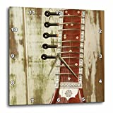 3D Rose Close-up of a Wood Indian Sitar String Instrument of Music in India Wall Clock, 15'' x 15''