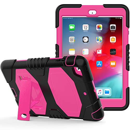 New iPad 9.7 inch 2018/2017 Case, Rugged Kickstand Series - Shockproof Heavy Duty Hybrid Three Layer Armor Defender Kids Child Proof Case Cover for Apple iPad 9.7 (2018/2017 Release) - Black Pink
