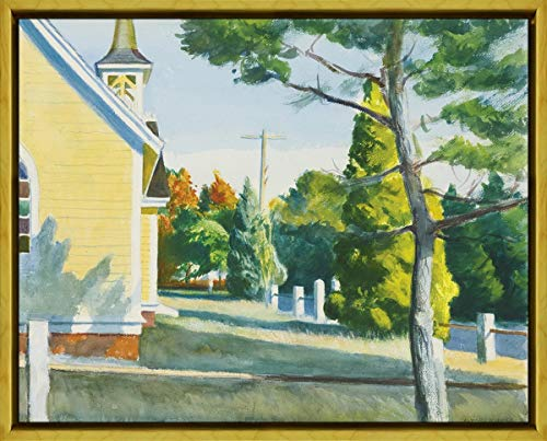 Berkin Arts Framed Edward Hopper Giclee Canvas Print Paintings Poster Reproduction(Church in Eastham) #XLK (Art Hopper Framed)