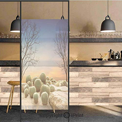 3D Decorative Privacy Window Films,Cactus Balls with Spikes on a Montain Desert Sand Mexican Landscape Photo,No-Glue Self Static Cling Glass Film for Home Bedroom Bathroom Kitchen Office 17.5x71 Inch