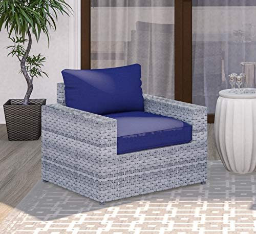 SunHaven Kensington Grey Outdoor Conversation Set Fully Assembled Wicker Rattan Blue Cushion Olefin Fabric Weatherproof Clips Included (Club Chair) ()