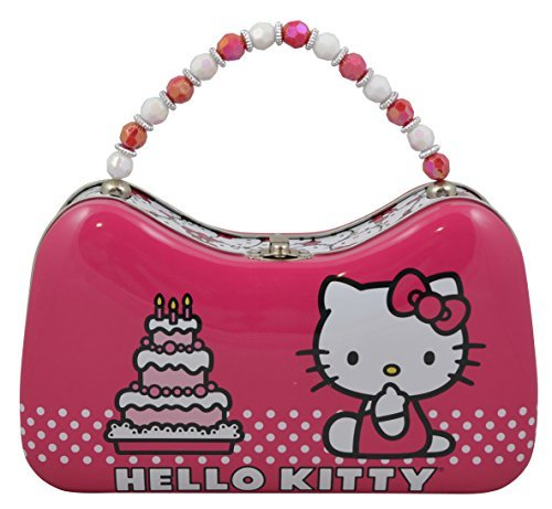 Sanrio Hello Kitty Tin Purse Box with Beaded Handle (Pink)