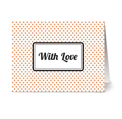 Modern Dots 'With Love' Tangerine - 24 Cards - Blank Cards w/ Grey Envelopes Included (Dots Chocolate Tangerine)