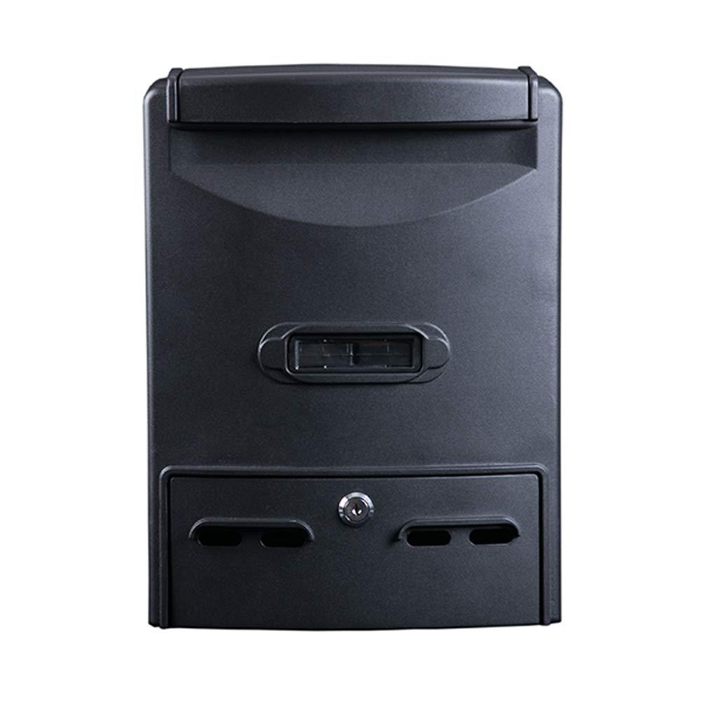 HTDZDX 壁掛けデザインのメタルメールボックス/レターボックスウィンドウパターン、黒   B07SRRB6KW