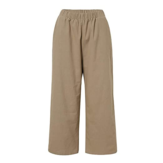 e76cdd933a Womens Ladies Casual Flax Cotton and Linen Loose Wide Leg Pants CO/2XL