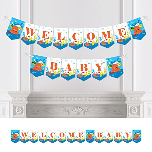 Big Dot of Happiness Under The Sea Critters - Baby Shower Bunting Banner - Party Decorations - Welcome Baby ()