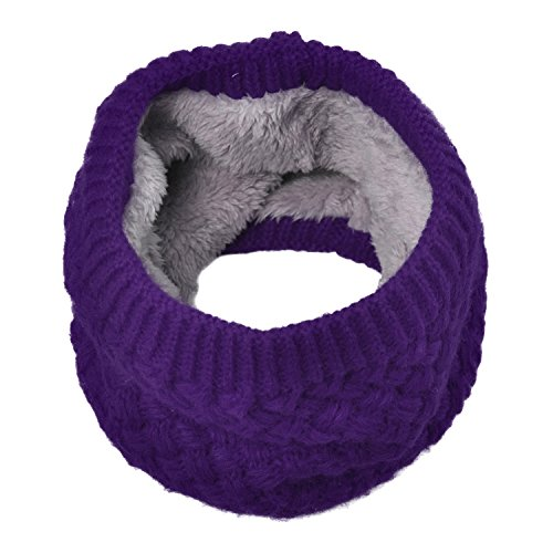 Leories Harsh Winter Double-Layer Soft Fleece Lined Thick Knit Neck Warmer Circle Scarf Windproof
