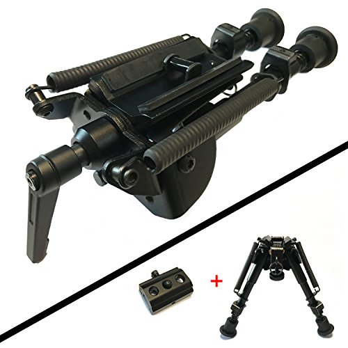 XAegis Rifle Bipod 6-9 Inch Adjustable Height Swivel Style Handy Spring Return,Rail (Guide Rail Adaptor)