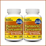 [2-bottle pack] Turmeric Curcumin (100% potent and natural with Bioperine & other herbs) 120 veggie capsules 1000mg in daily serving