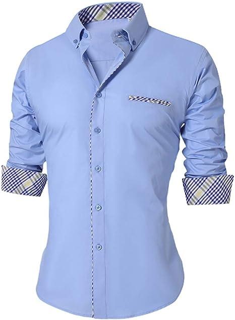 YAYLMKNA Camisa Hombres De La Camisa De Los Hombres Delgados del Verano De Manga Larga Tamaño Transpirable Oficina Vestido Camisas Hombres, M: Amazon.es: Deportes y aire libre