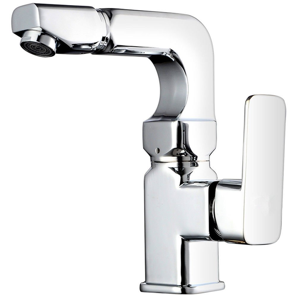 ANNTYE Waschtischarmatur Bad Mischbatterie Badarmatur Waschbecken Warmes und kaltes Wasser 360° schwenkbar Messing Ventil Badezimmer Waschtischmischer