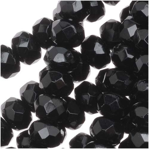 Czech Fire Polished Glass, Donut Rondelle Beads 5x3mm 'Jet' Black (25)