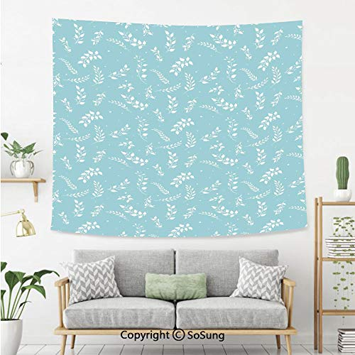 - SoSung Tree Wall Tapestry,Blooming Branches with Small Delicate Leaves Twigs Gardening Plants Zen Decor,Bedroom Living Room Dorm Wall Hanging,60X50 Inches,Light Blue White