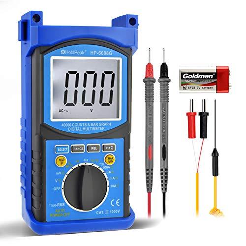 Multímetro digital-HOLDPEAK 6688G Multímetro profesional de alta precisión TRMS Multímetro de rango automático, 40000 cuentas CATIII 1000 V CA / VC Voltaje, corriente, ohmios, voltímetro, prueba de temperatura de diodo / capacitor