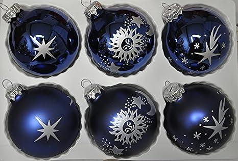 Decorazioni Albero Di Natale Blu : Decorazioni albero di natale in vetro con stampa blu scuro
