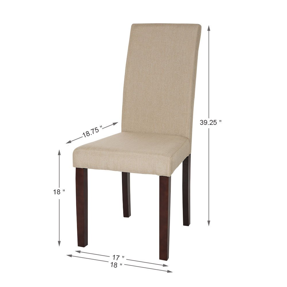 Glitzhome Padded Fabric Dining Chairs Beige, Set Of Two by Glitzhome (Image #7)