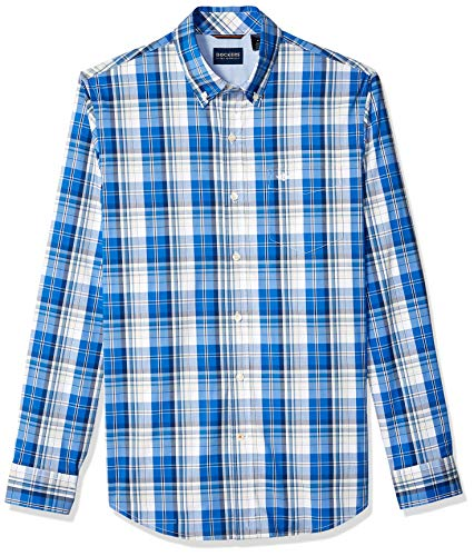 Dockers Men's Long Sleeve Button Front Comfort Flex Shirt, Code Blue - PLAID X-Large (Shirt Blue Down Button Plaid)