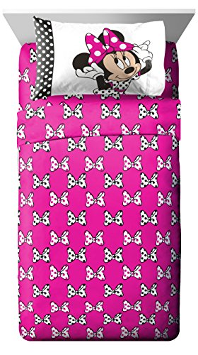 LO 5 Piece Kids Girls White Black Cute Disney Pink Minnie Mouse Comforter Twin/Full Set, Adorable Polka Dots Bedding Mini Mickey Mouse Themed Girly Bows Cartoon Character, (Mini Twin Comforter)