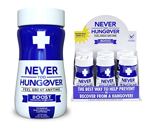 Hangover Prevention & Recovery Drink - Never Too Hungover Boost - with Electrolytes for Rehydration, Caffeine and B Vitamins for Energy & to Prevent/Avoid Hangovers - 6 Pack - 3.4 Oz Bottles