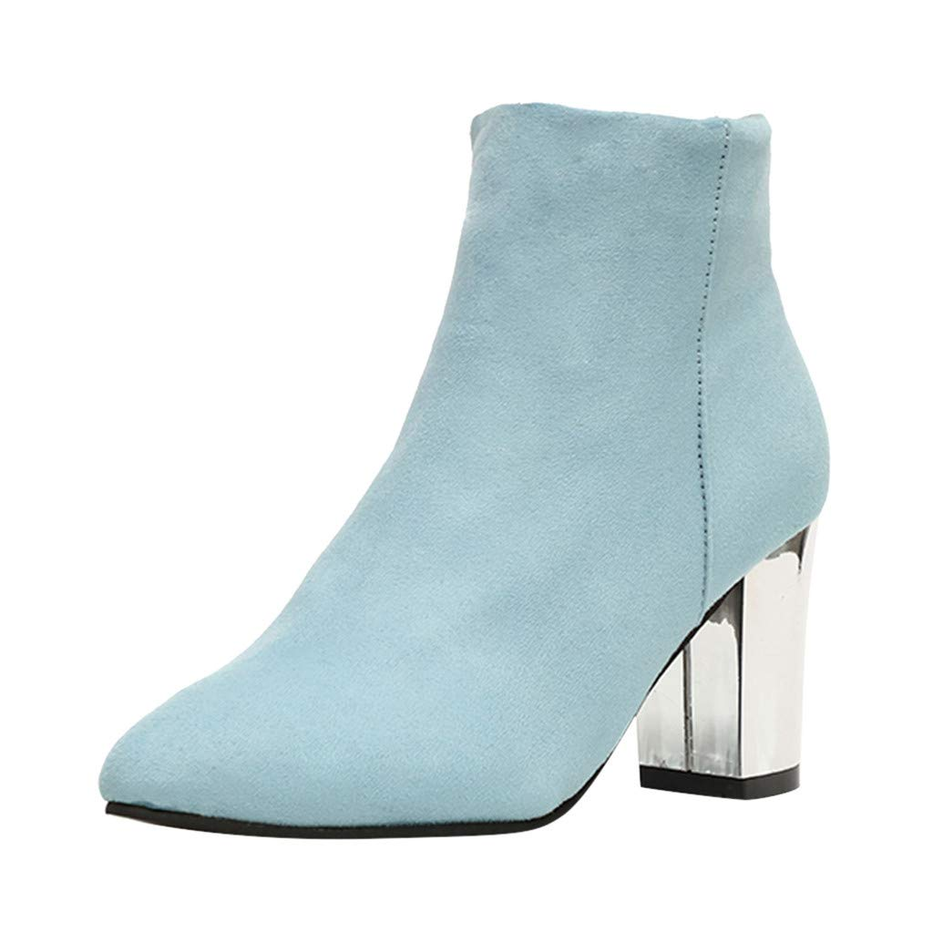 Kauneus Womens Faux Suede Pointed Toe High-Heeled Zipper Ankle Boot Creative Mirror Block Chunky Heel Fashion Short Boots Sky Blue by Kauneus Fashion Shoes