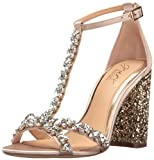 Jewel Badgley Mischka Women's Carver Dress Sandal, Champagne, 8.5 M US