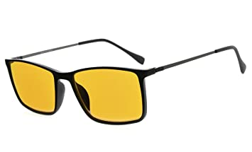 Yellow Lens Sunglasses Black Rectangular Plastic Frame Block Blue Clothing, Shoes & Accessories