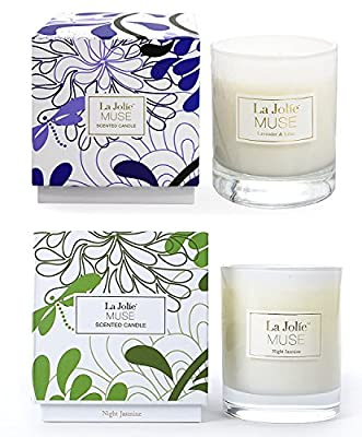 LA JOLIE MUSE Lavender Lilac&Jasmine Scented Candles Aromatherapy Soy Wax, 2 Pack 8.1 oz Each, Gift Candles for Valentine's Day Home Decoration