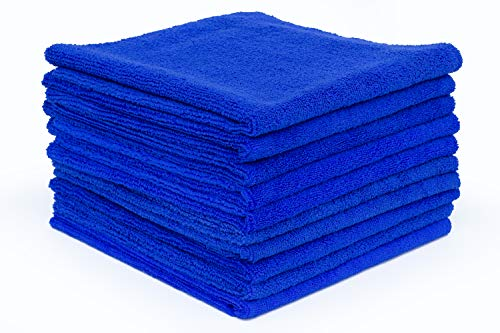 THE RAG COMPANY (10-Pack) 16 in. x 16 in. Professional EDGELESS 365 GSM Premium 70/30 Blend Microfiber POLISHING, Wax Removal and AUTO Detailing Towels (16x16, Royal Blue) ()