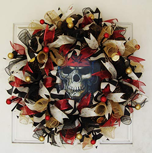 (Gasparilla Pirate Festival, Creepy Pirate Skull Skeleton Deco Mesh Front Door Wreath, Party Decoration, Halloween Prop Decor, Porch Patio Outdoor Wall)