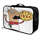 Travel Bags Whole Pepperoni Pizza Portable Suitcase Trolley Handle Luggage Bag