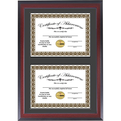 CreativePF [14x20.5mh-b] Mahogany Finish Double Diploma Frame with Black Mat, Holds Two 8.5 by 11-inch Documents with Wall Hanger