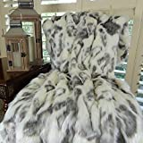 Thomas Collection rabbit fur throw blanket, luxury throw blanket, Ivory Gray Rabbit Faux Fur Throw Blanket Bedspread, Fur Throw Blanket, Luxury Soft Faux Fur, Handmade in US, 16428