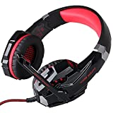 3.5mm Gaming Headset with Microphone, TurnRaise EACH G9000 Over Ear Gaming Headphones w/ 3.5mm Audio Jack for PC Laptop Notebook Tablet Smart Phones (Red)