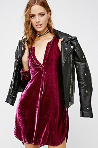 Manga larga con cuello en v camisas Casual Vestido de la túnica de la mujer Winered