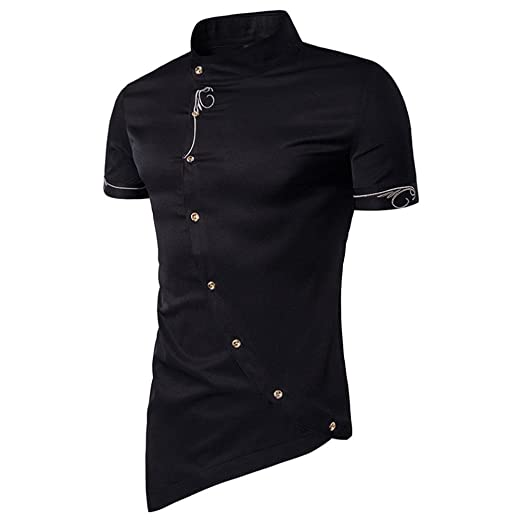 6486973987d1 Amazon.com  Mens Hipster Casual Slim Fit Short Sleeve Button Down Dress  Fshion Button Shirts Tops with Embroidery  Clothing