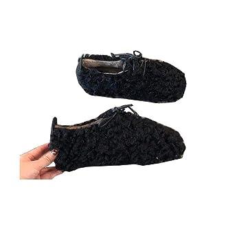 Las Mujeres De Tacón Plano Mocasines 2018 Otoño E Invierno Felpa Cómoda Encaje De Zapatos Casuales
