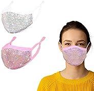 FENELY 2PCS Women Men Fashion Cloth Face MaskWashable ReusableAdjustable Breathable
